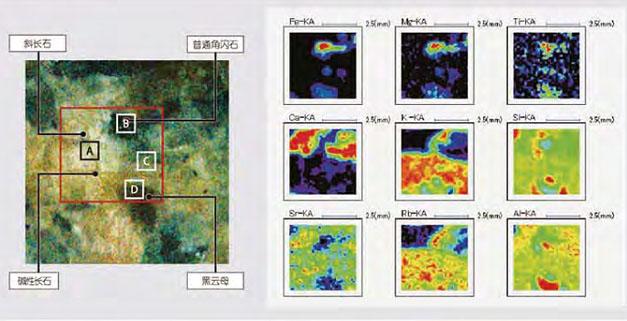 日本理学波长X射线荧光光谱仪对岩石样品的定点分析及面扫描分析
